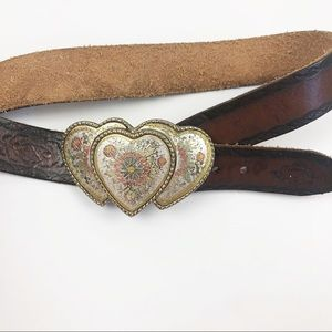 Leather belt with large triple heart buckle